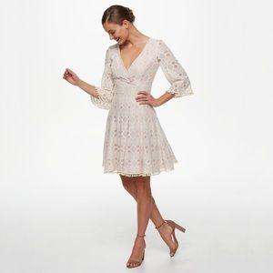 Anthro Eliza J Fit & Flare Pom Pom Lace Dress 10